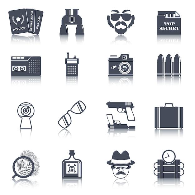 Conjunto de ícones pretos de gadgets de espião Vetor Premium