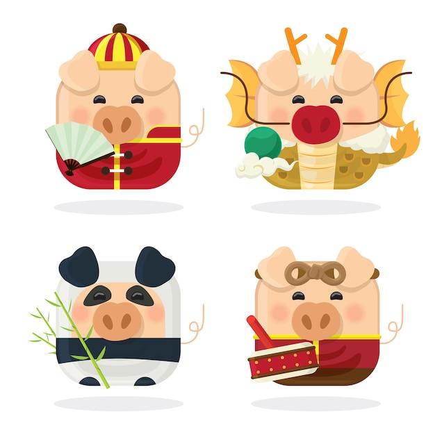 Conjunto de ícones quatro porco e ano novo chinês de 2019 Vetor Premium