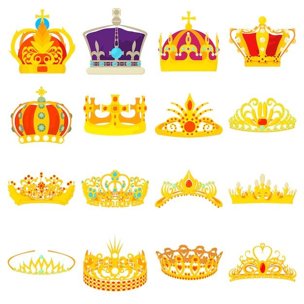 Conjunto de ícones reais de coroa Vetor Premium