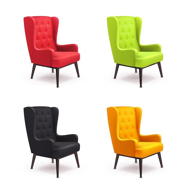 Conjunto de ícones realista de cadeira Vetor grátis