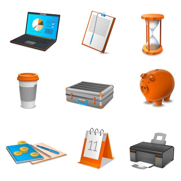 Conjunto de ícones realista de negócios Vetor grátis