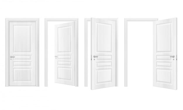 Conjunto de ícones realista de portas de madeira Vetor grátis
