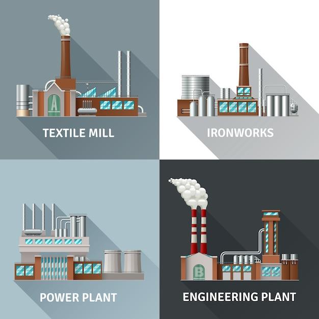 Conjunto de ícones realistas de design de edifício de fábrica Vetor grátis
