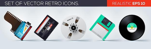 Conjunto de ícones realistas de ícones retrô Vetor Premium