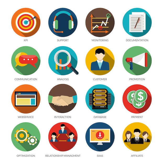 Conjunto de ícones redondos de crm Vetor grátis