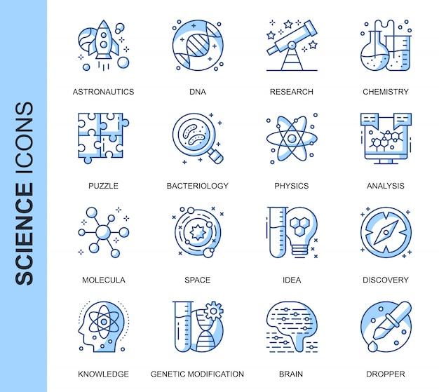 Conjunto de ícones relacionados a ciência de linha fina Vetor Premium