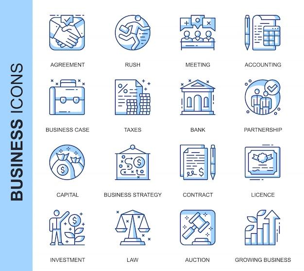 Conjunto de ícones relacionados a negócios de linha fina Vetor Premium