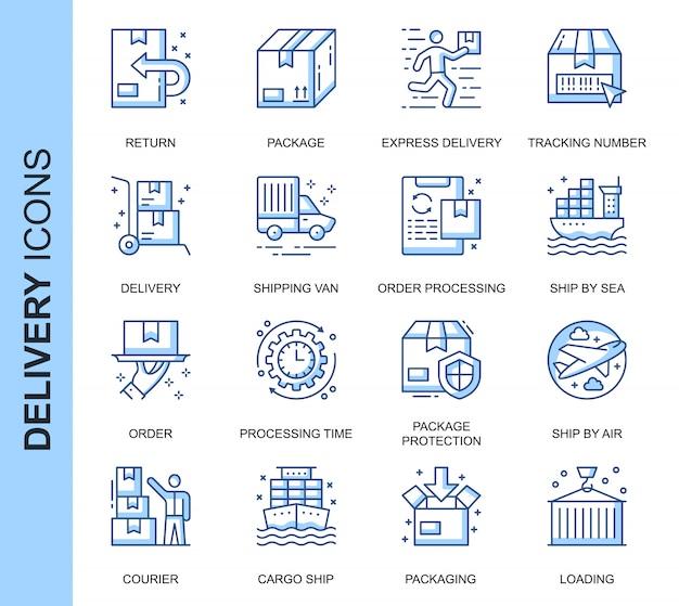 Conjunto de ícones relacionados de entrega de linha fina Vetor Premium