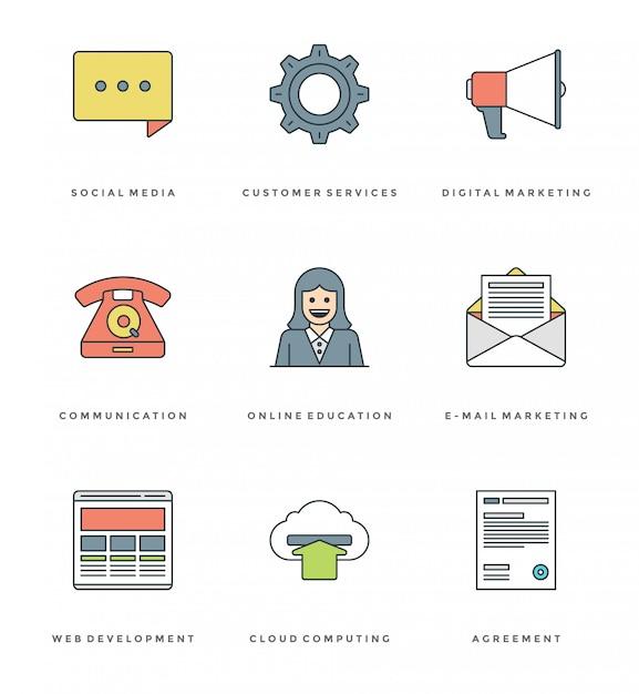 Conjunto de ícones simples de linha plana. thin linear stroke icons conceito de objetos essenciais. Vetor Premium