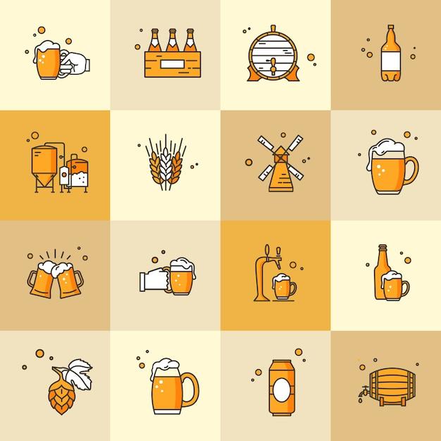 Conjunto de ícones sobre o tema da cerveja kraft Vetor Premium