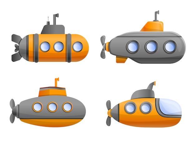 Conjunto de ícones submarinos Vetor Premium