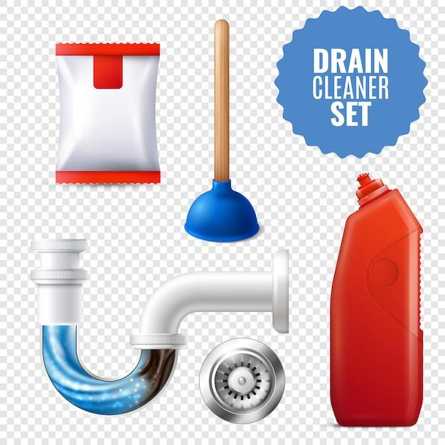 Conjunto de ícones transparentes de limpador de dreno Vetor grátis