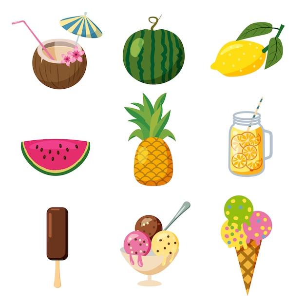 Conjunto de ícones tropicais verão bonito, frutas, sorvete coquetéis tropicais estilo cartoon, isolado Vetor Premium