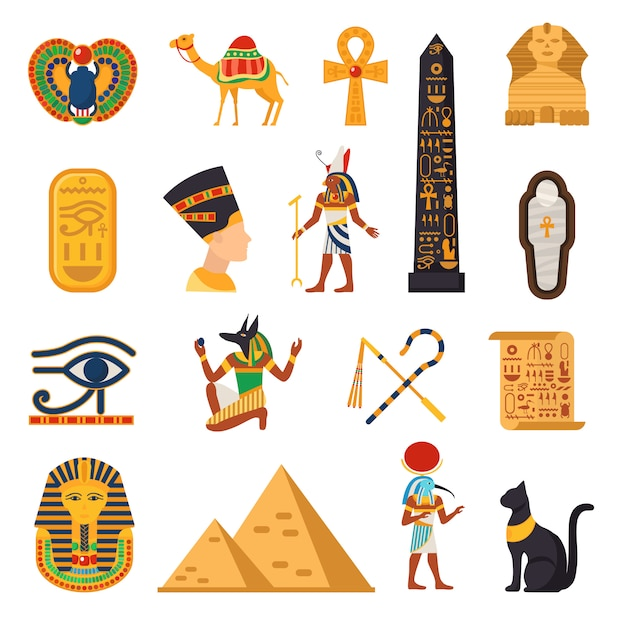 Conjunto de ícones turísticos do egito Vetor grátis