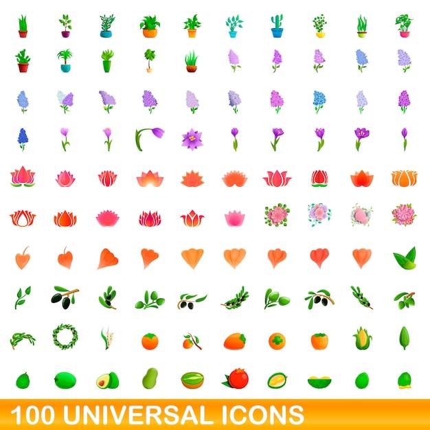 Conjunto de ícones universais, estilo cartoon Vetor Premium