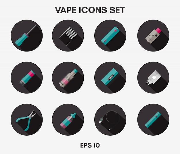 Conjunto de ícones vape Vetor Premium