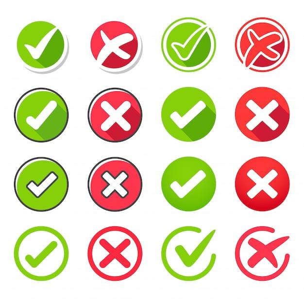 Conjunto de ícones verdadeiro e falso Vetor Premium