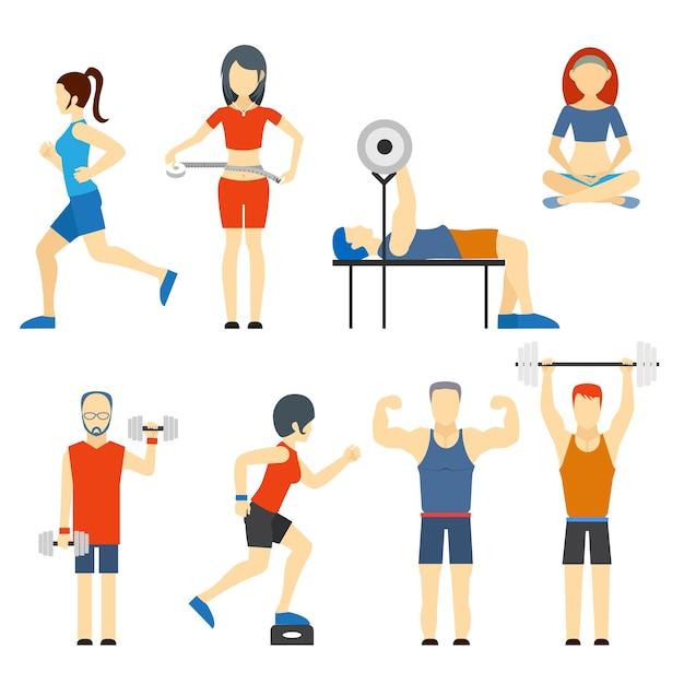 Conjunto de ícones vetoriais coloridos de pessoas se exercitando na academia e ícones de fitness com musculação para levantamento de peso, corrida, ioga e medição de perda de peso Vetor grátis