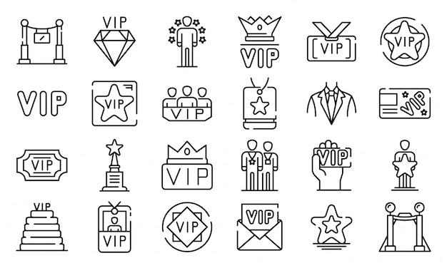 Conjunto de ícones vip, estilo de estrutura de tópicos Vetor Premium
