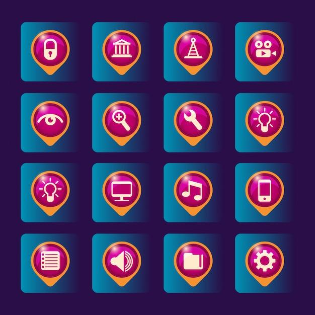 Conjunto de ícones Vetor Premium