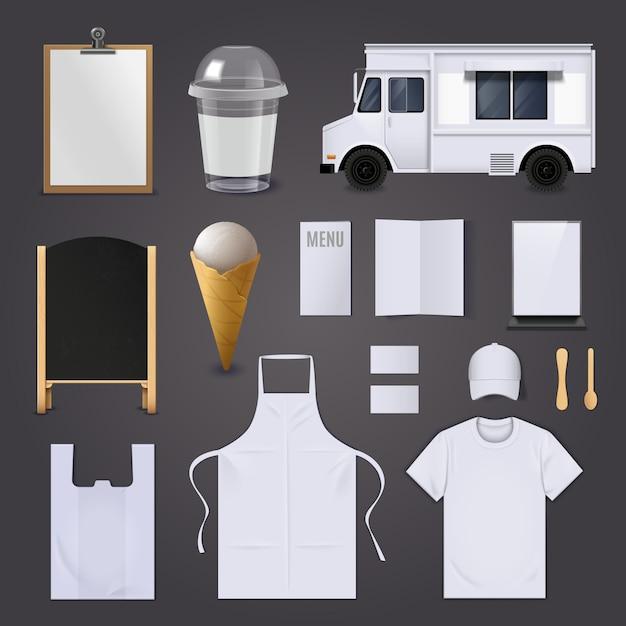 Conjunto de identidade corporativa de sorvete Vetor grátis