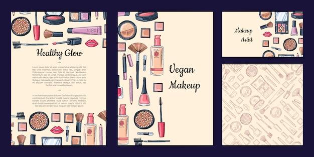 Conjunto de identidade de marca de beleza ou maquiagem Vetor Premium