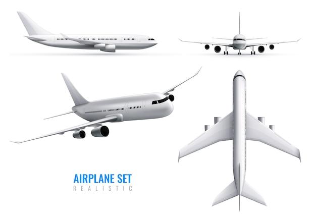 Conjunto de identidade realista de aeronaves civis de avião branco na parte superior e vistas frontais isoladas Vetor grátis