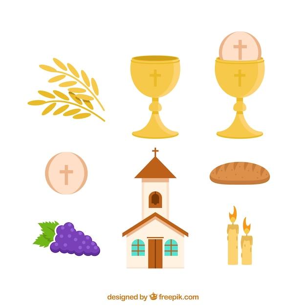 Conjunto de igreja e objetos de primeira comunhão Vetor grátis