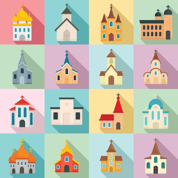 Conjunto de igreja, estilo simples Vetor Premium
