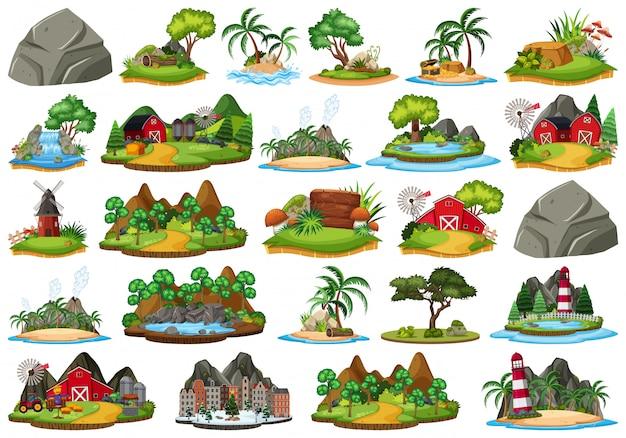 Conjunto de ilha isolada da natureza Vetor Premium