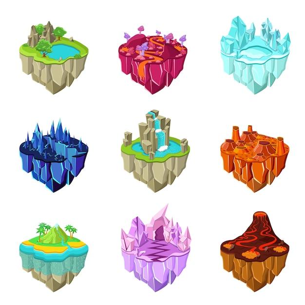 Conjunto de ilhas de jogo isométrico Vetor grátis