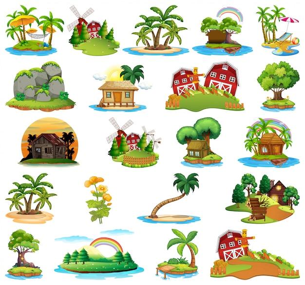 Conjunto de ilhas diferentes Vetor grátis