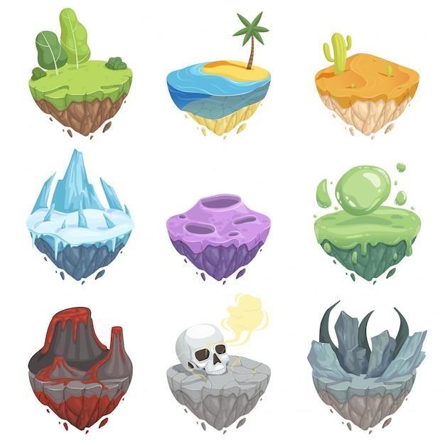 Conjunto de ilhas isométricas. paisagem dos desenhos animados com superfície de lava rocha vulcão terra chão vulcão Vetor Premium