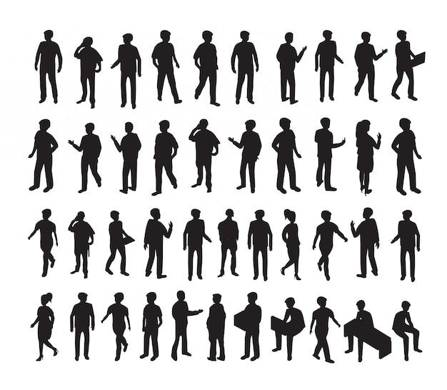 Conjunto de ilustração 3d isométrica silhuetas de pessoas Vetor Premium