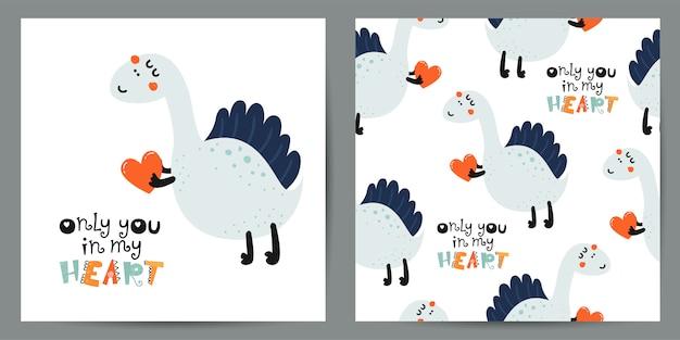 Conjunto de ilustração bonitinha e padrão sem emenda com dinossauros Vetor Premium