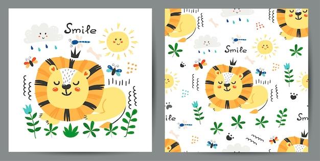 Conjunto de ilustração bonitinha e padrão sem emenda com leões Vetor Premium