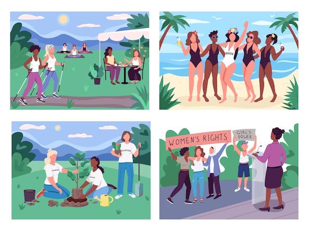 Conjunto de ilustração colorida de atividades em grupo para mulheres Vetor Premium