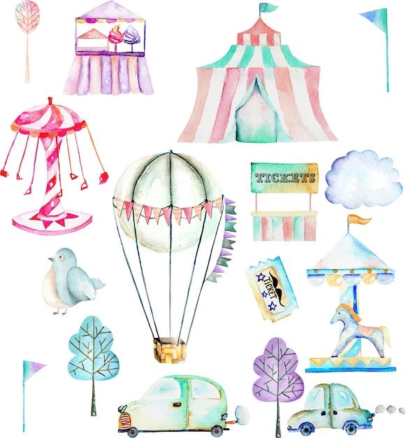 Conjunto de ilustração com elementos de aquarela do parque de diversões Vetor Premium