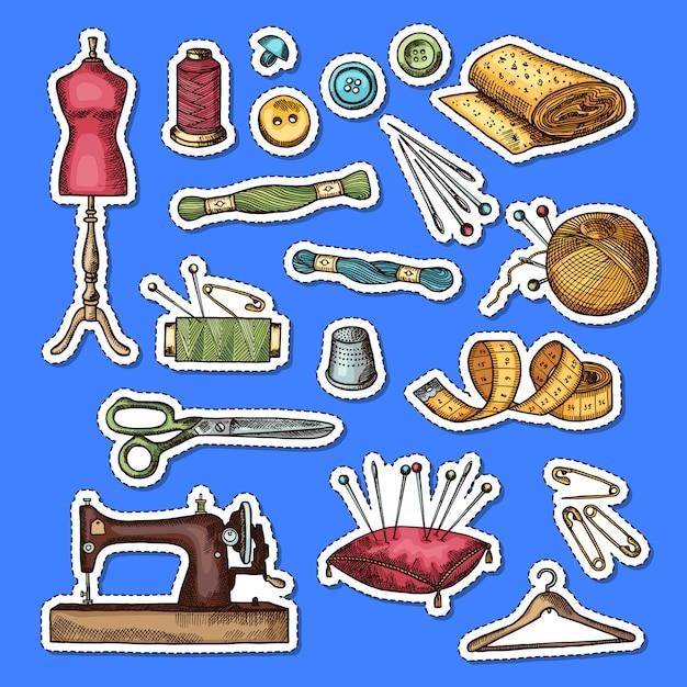 Conjunto de ilustração de adesivos de elementos de costura colorida mão desenhada Vetor Premium