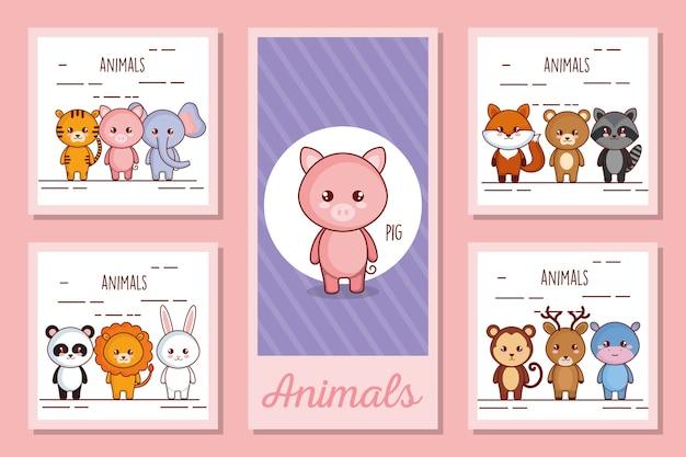 Conjunto de ilustração de animais fofos Vetor Premium
