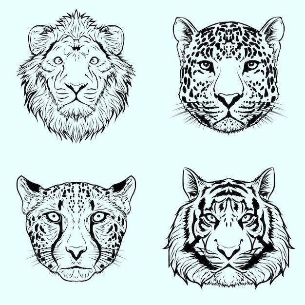 Conjunto de ilustração de arte design preto e branco handdrawn gato selvagem grande Vetor Premium