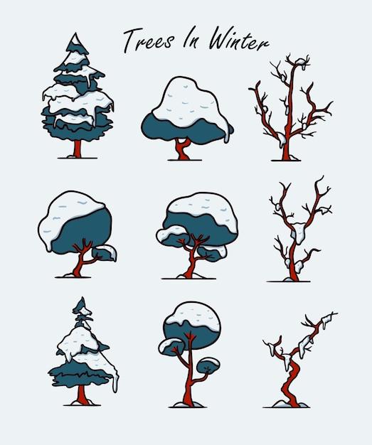 Conjunto de ilustração de árvore de inverno coberta com neve Vetor Premium