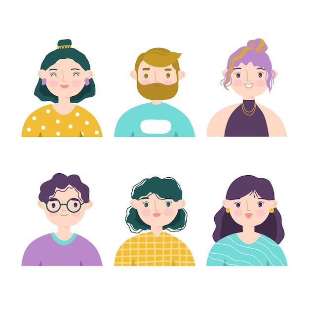Conjunto de ilustração de avatares de pessoas Vetor Premium