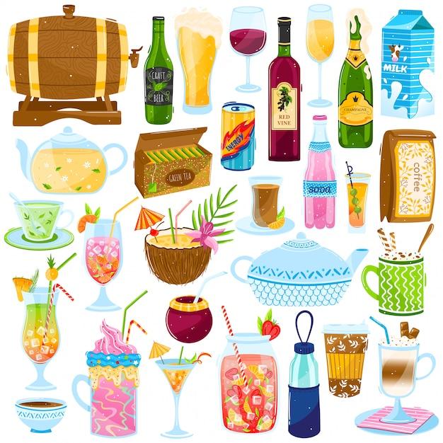 Conjunto de ilustração de bebidas dos desenhos animados, coleção com menu de bar café quente ou frio, suco tropical cocktail de verão, xícara de chá Vetor Premium