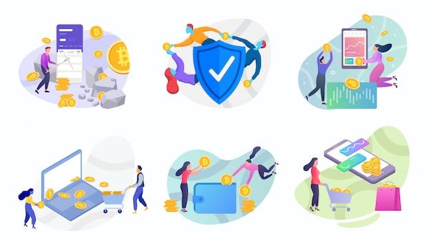 Conjunto de ilustração de bitcoin de moeda crypto Vetor Premium
