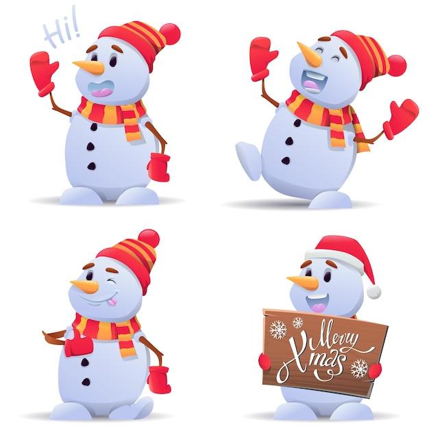 Conjunto de ilustração de bonecos de neve de natal fofos Vetor Premium