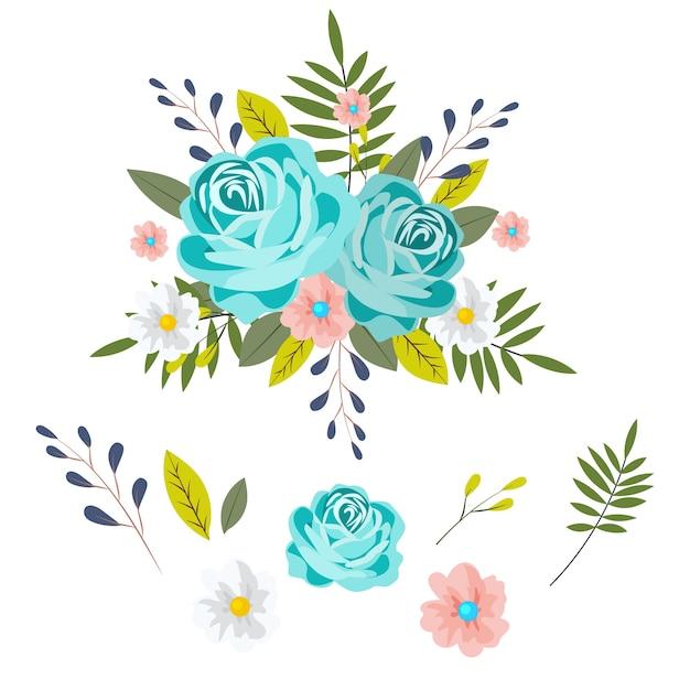 Conjunto de ilustração de buquê floral 2d Vetor grátis