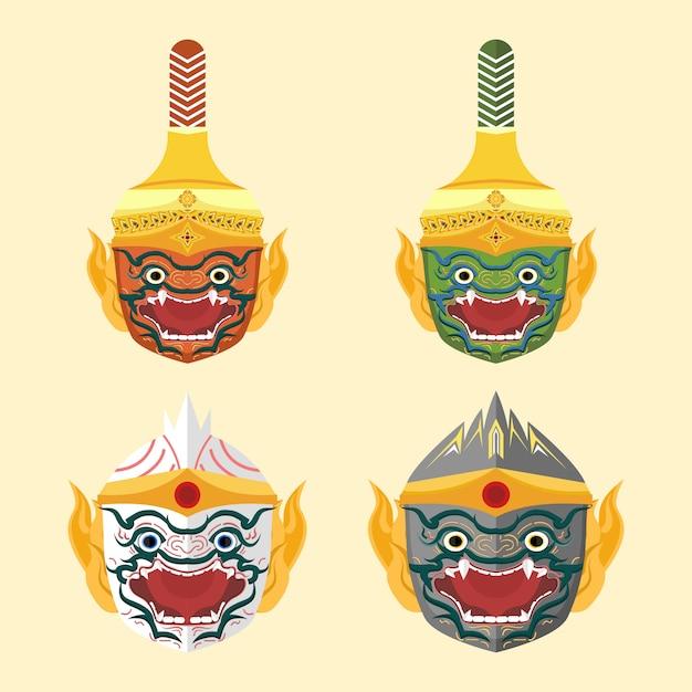 Conjunto de ilustração de cabeça de macaco tailandês khon Vetor Premium