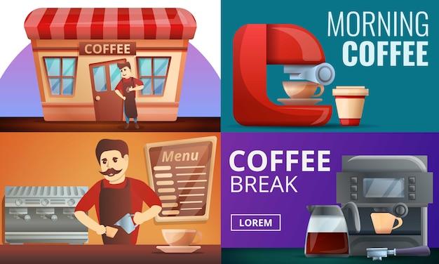 Conjunto de ilustração de café barista, estilo cartoon Vetor Premium