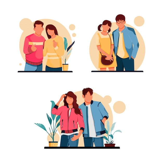 Conjunto de ilustração de caracteres de casal romântico, conceito de design plano Vetor Premium